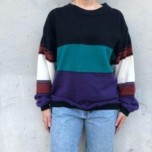 Vintage impact brand crewneck color block sweater